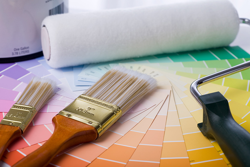 rainbow paint and paint supplies