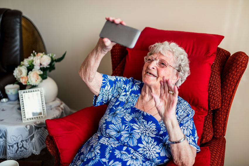 Old woman on facetime